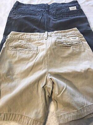 Abercrombie Fitch Lot 2 Shorts Navy Blue & Khaki Size Mens 32