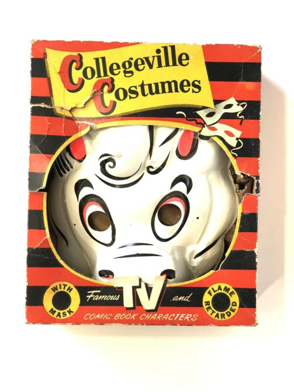 VTG Nightmare Casper's Horse 1950's Collegeville RARE Halloween Costume Box Mask