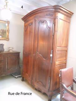 SUPERB ANTIQUE FRENCH LARGE CHEERY WOOD ARMOIRE CUPBOARD Botany Botany Bay Area Preview