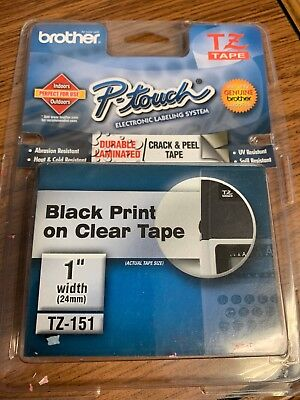 P-touch Label Maker Tape Tz-151 1 Inch Black Print On Clear Tape -new