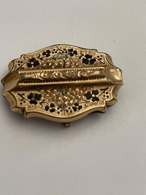 Antique Victorian Edward. Momento Mori Mourning Enamel Shamrock Pin Brooch AS IS