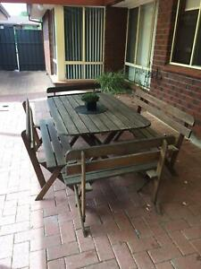 Solid timber outdoor table and chairs