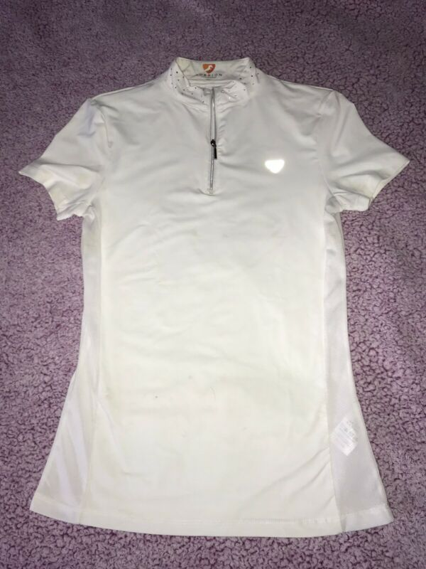 Aubrion Show Shirt Women's Off-White Sparkle Short Sleeve Equestrian XS