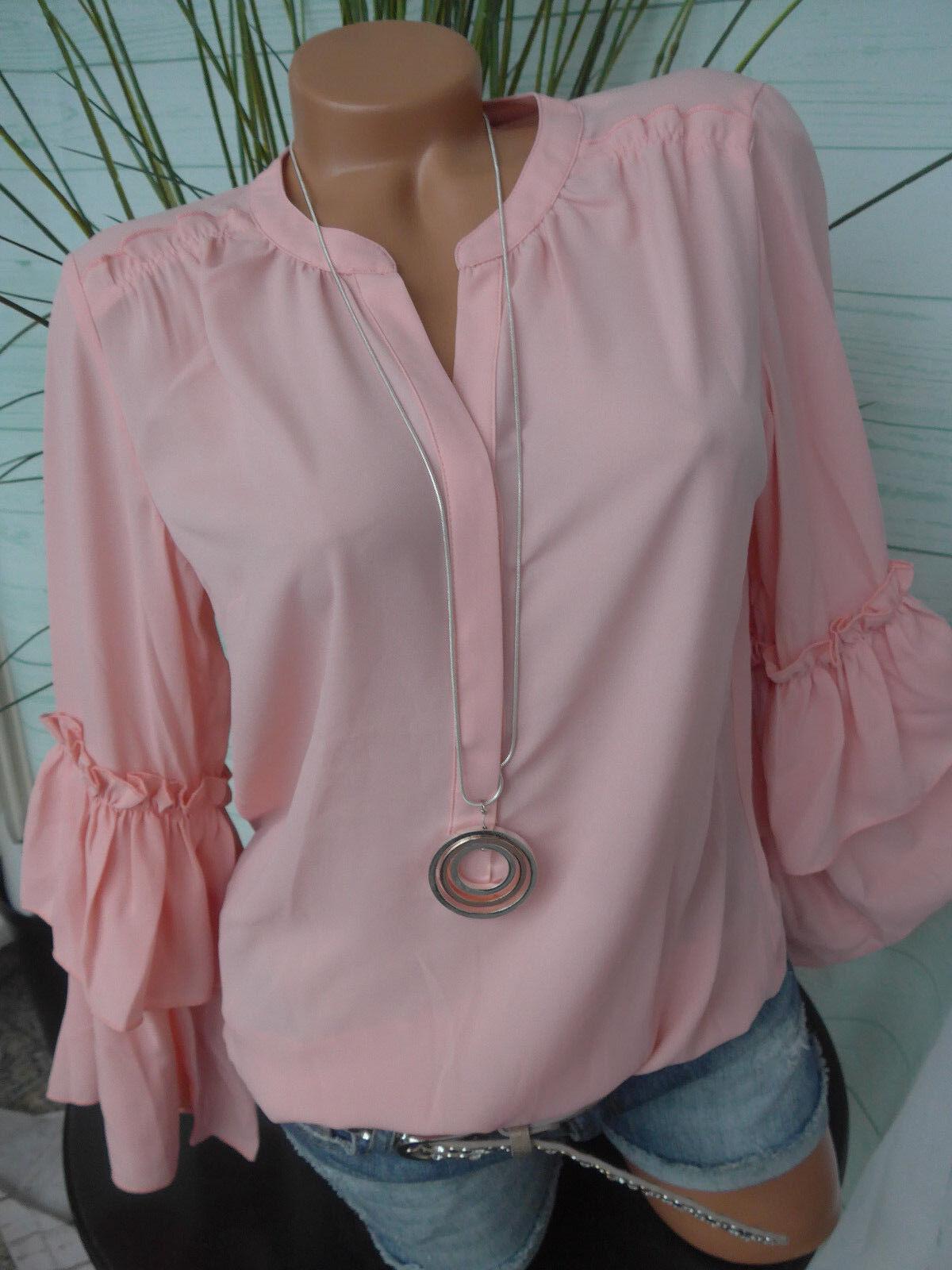 Amy Vermont Bluse Shirt Gr. 36 bis 46 rosa Ton mit Rüschenarm (445) (469) NEU