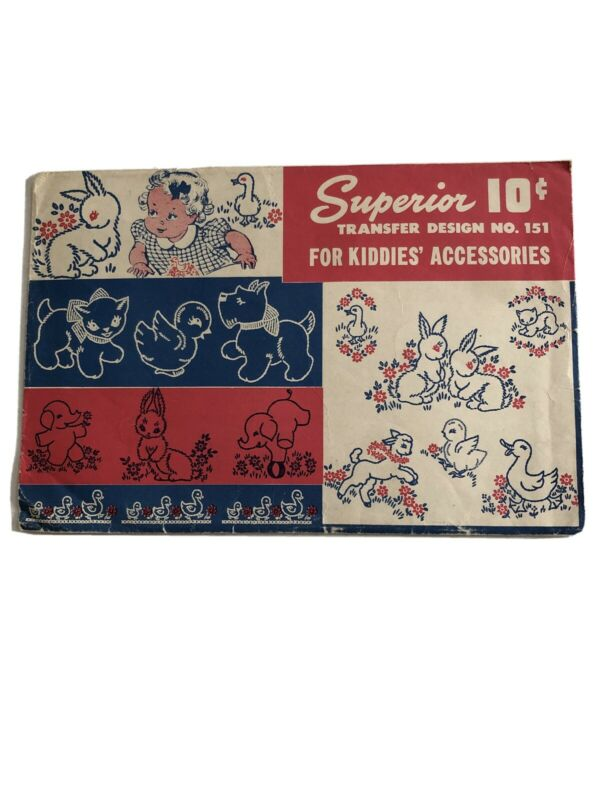 Vtg Superior Transfer Hot-Iron Embroidery Pattern #151 Kiddie Accessories Used