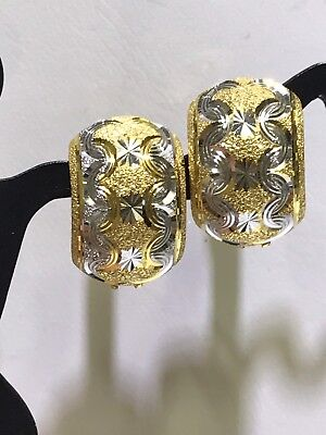 18k Solid Yellow Two Toned Gold Diamond Cut Clip Huggie Earrings 4.35g