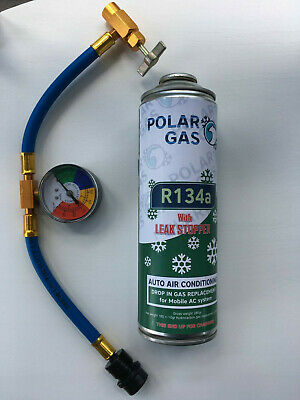 Car Aircon Refill Regas Air Conditioning  R134A LEAK STOP+hose replacement 490gr