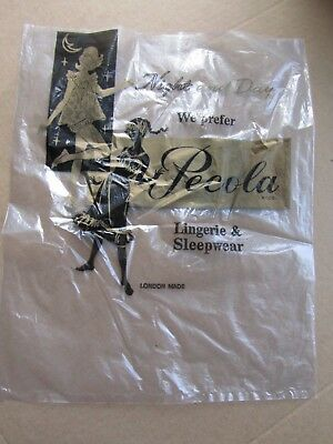 Vintage 1960s Used Empty Pecola London Lingerie and Sleepware Polythene Bag