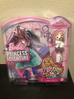 Barbie Princess Adventure Fashion Pack Metallic Outfit, Dog, Shoes & Accessories