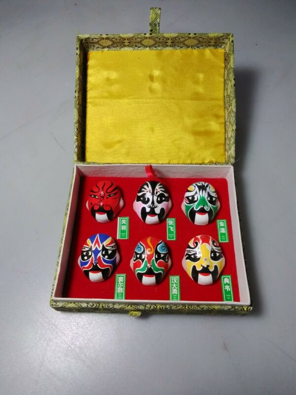 (6) Miniature Chinese Mask Heads In Box