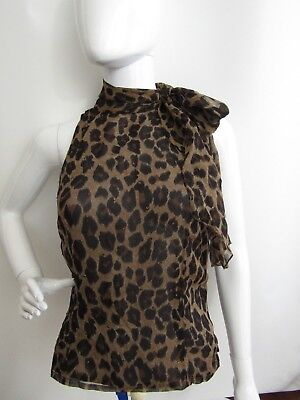 6f6d7ff0b83 BARBARA KATZ Animal Print Sleeveless Silk Blouse Top Size 8