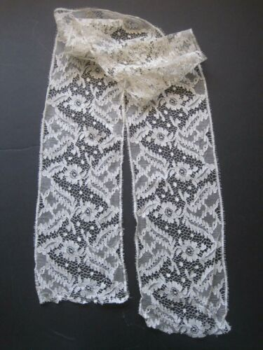 ANTIQUE SILK IVORY WIDE LACE TRIM    52 X 5 INCHES