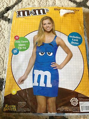 NEW M&M'S Candy Blue Tank Dress Up Outfit Teen Costume Fits SIZES 13-16 FREE - M&m Outfit