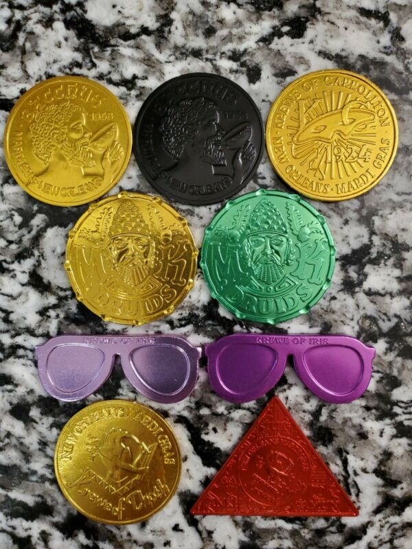 2021 Lot of 9 Mardi Gras Aluminum Doubloons (5 Krewes)