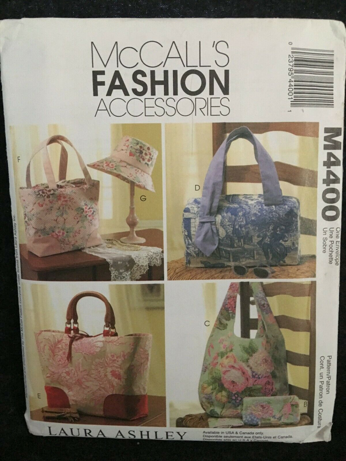 McCalls Pattern M4400 Handbags, Hats and Accessories NEW