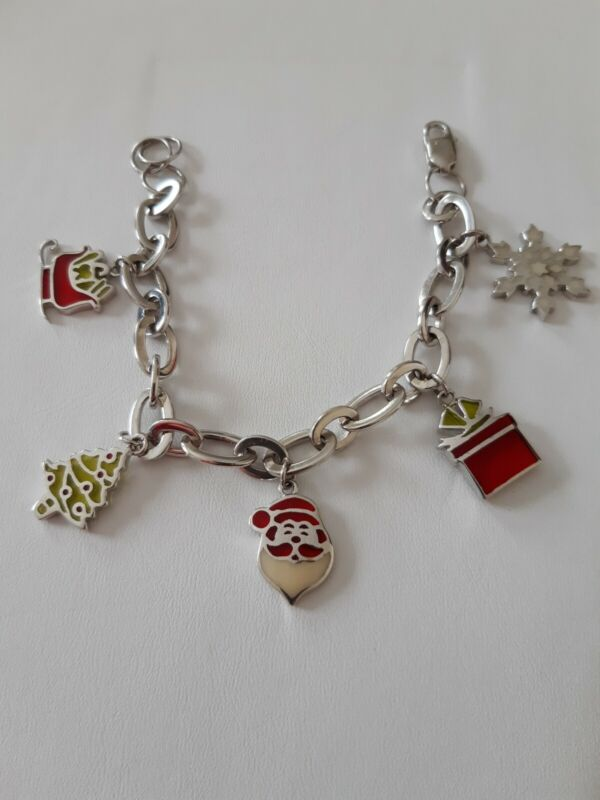 Vintage NOS Stained Glass Charms Sterling Christmas Bracelet Santa Tree Sleigh
