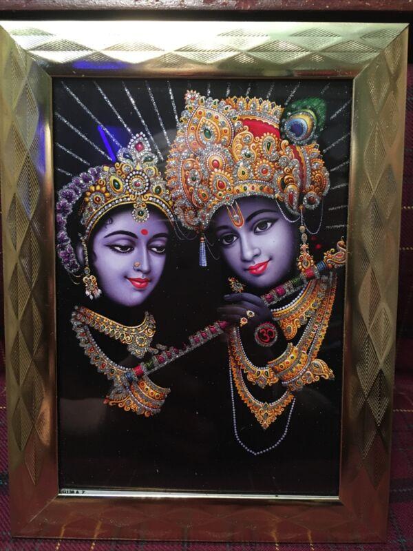 Framed Radha Krishna 5x7 Glitter Photo Poster Painting Hindu