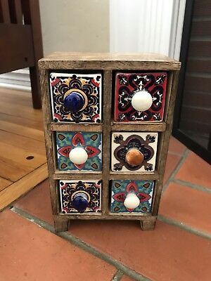 Ceramic Spice Box - New Wood Cabinet Spice Trinket Box w/ 6 Ceramic Hand Painted Drawers from India