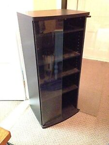 """5 Shelf Stereo Cabinet with Glass Doors, 21.5"""" x 17"""" x 47"""""""