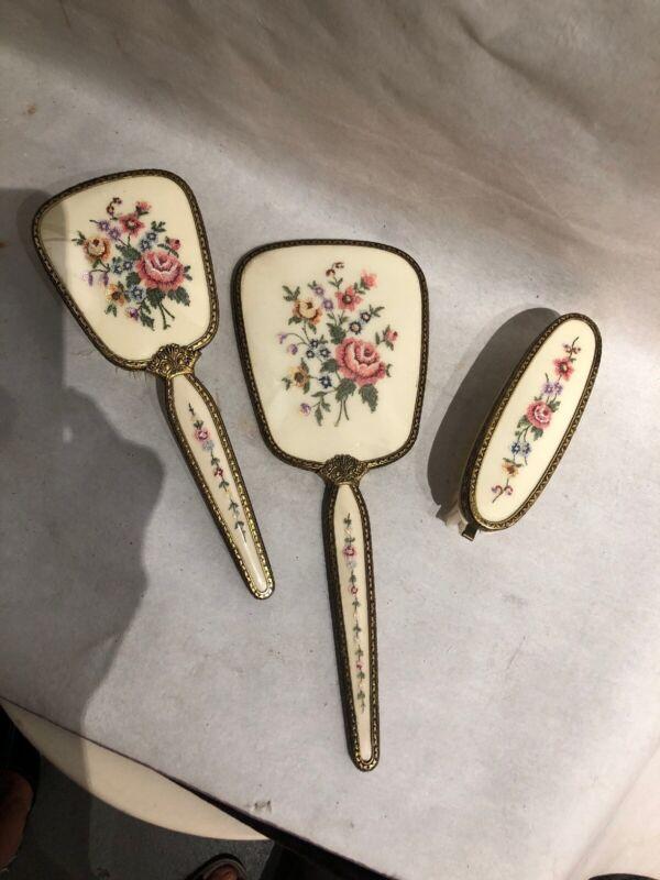 Vintage The Regent Of London 3 pc Vanity Set Needlepoint Floral Mirror, Brushes