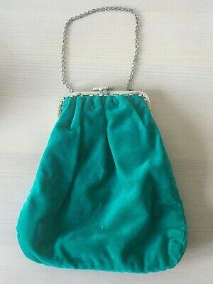 Genuine Vintage Ladies Green Velvet Evening Bag