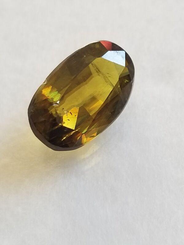 *US***SELLER* 3.24Ct Natural Sphene (Titanite) Yellowish Green Unheated Oval Gem
