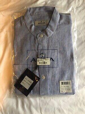 TOSCANO AQUA casual dress shirt 100% LINEN Long Sleeve Shirt -