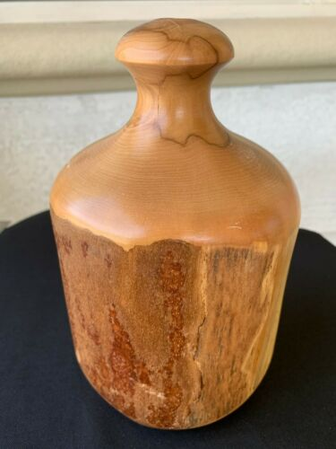VINTAGE PRETTY & UNIQUE HAND CARVED LIVE EDGE WOOD VASE SCULPTURE
