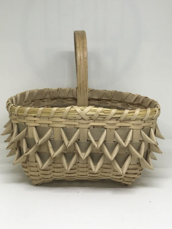 Artisan Crafted Wood And Pine Needle Basket OOAK