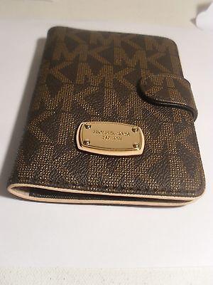 NEW Michael Kors Signature Jet Set PVC Passport Case Holder Brown Wallet