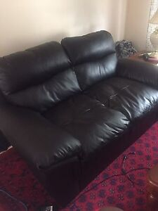 SET OF TWO - Leather Loveseat & Chair Sofas