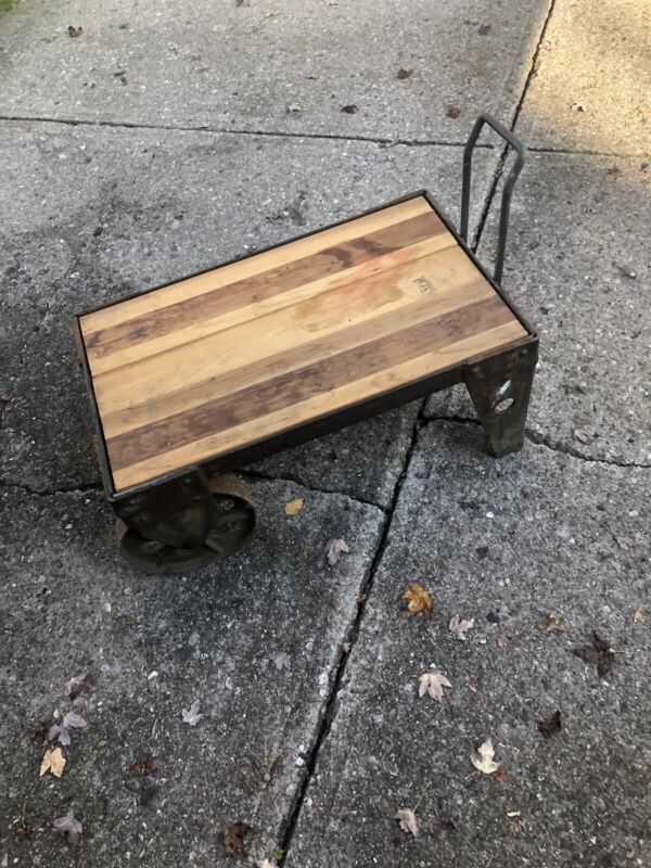Vintage Industrial Railroad Cart Cast Iron/Steel Coffee Table