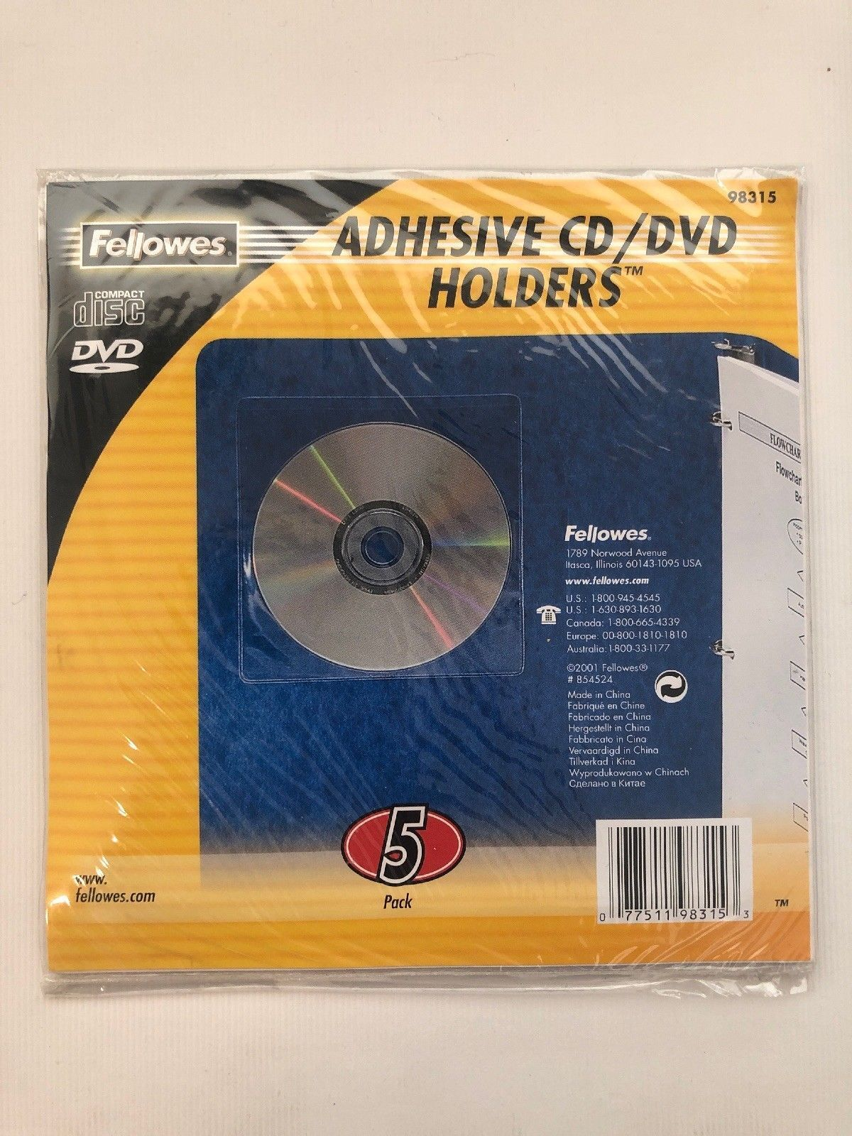 Fellowes 98315 5-Pack Adhesive CD/DVD Holders