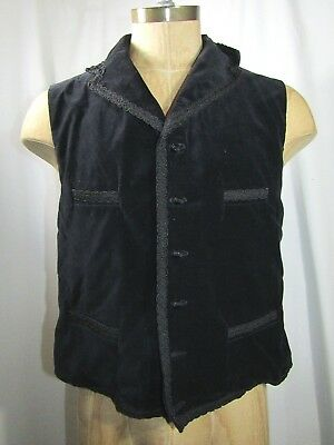 OBSIDIAN CLOTHING Handmade in England Braided Velvet Vest/Waist Coat Size Large for sale  Shipping to India