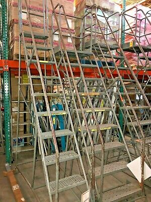 10-step Industrial Rolling Ladder With Base Lock Engage Step - Reaches 8 6