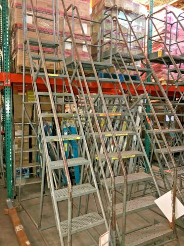 10-step Industrial Rolling Ladder with base lock engage step - reaches 8