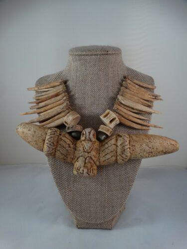 Pre-Columbian -Taino carved stone pectoral & bone Necklace. Cosme