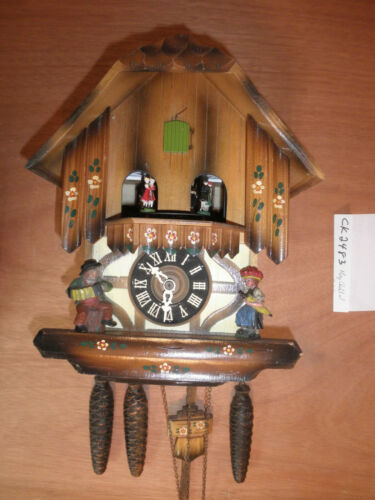 Cuckoo Clock German SEE VIDEO Black Forest Schmeckenbecher Chalet 1 Day CK2483