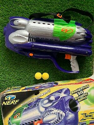 Vintage Nerf Ballzooka MP150 Motorized Original Box, Strap & 5 Balls Toys 2000