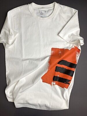 $195 Men's HELMUT LANG Masc Josephine Little Tee in Chalk White w/ Graphic sz M