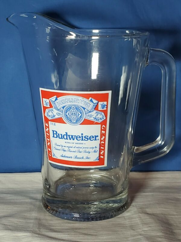 Vintage BUDWEISER King Of Beers Glass Pitcher Beer 60 oz  Budweiser