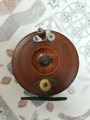 Vintage Wooden and Brass  Fishing Reel 4.5inch Diameter.