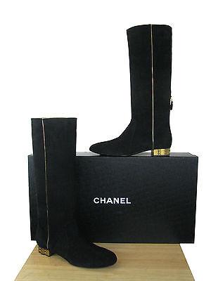 CHANEL Suede  CC Logo Knee High Boots NIB  sz 39.5