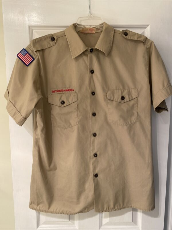 Boy Scout BSA UNIFORM SHIRT Mens Large Short Sleeve Tan I20