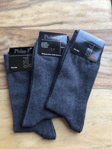 3 Paar graue Anzugsocken Socken ohne Naht / Gr. 39-42
