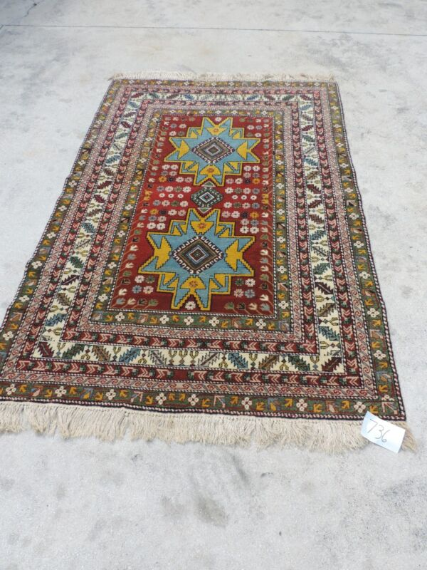 5x7ft. Vintage Caucasian Leski Star Wool Rug
