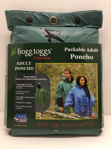 NEW Frogg Toggs Packable Green Ultra-Lite2 Poncho Waterproof