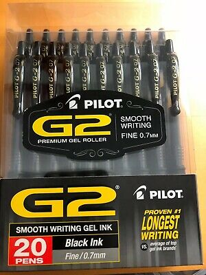 Pilot G2 Black Fine 0.7mm 20 Pack Gel Ink Pens