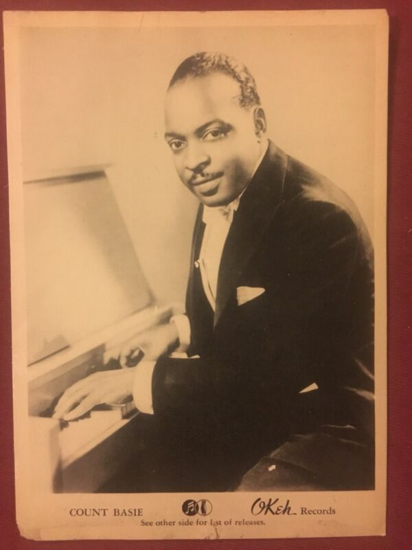 COUNT BASIE - Rare Original 1940 5x7 Okeh Records Advertising Card / Flyer
