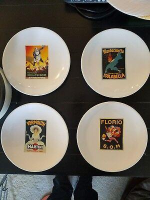 Food Cart Design (4 Pottery Barn Vintage Cocktail design 8-inch bar food plates bar cart appetizer)